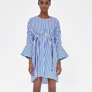 ZARA Striped dress with contrasting ties